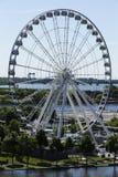 Vista aérea vertical de la gran rueda, Montreal vieja foto de archivo