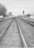 Vista abaixo das trilhas de estrada de ferro sem uma estrada de ferro do trem em preto e branco em um dia nebuloso com interseção Imagem de Stock Royalty Free