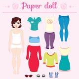 Vista acima a boneca de papel com as calças principais grandes ilustração stock
