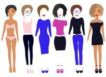 Vista acima a boneca de papel nos vestidos, calças, t-shirt, sapatas, vidros, roupa interior e e cabelo e bordos da mudança ilustração stock