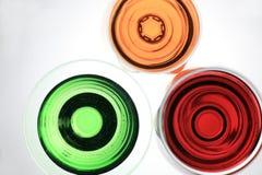 Vista acima do vidro de três líquidos Imagens de Stock