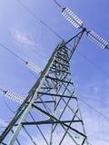 Vista ad alta tensione verde dei piloni da sopra Immagini Stock