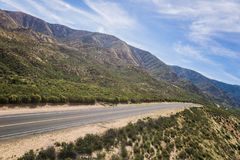 Vista ad angolo della strada del deserto Fotografia Stock