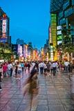 Vista ad ovest di notte della strada di nanjing Fotografie Stock