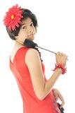 Vista adolescente latino-americano para trás no visor Foto de Stock