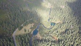 Vista aerea ai piccoli laghi ed ai fiumi in montagne di Tatra archivi video