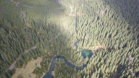 Vista aerea ai piccoli laghi ed ai fiumi in montagne di Tatra stock footage