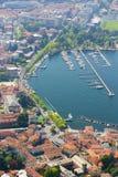 Vista aerea al porto di Como, lago Como Immagine Stock Libera da Diritti