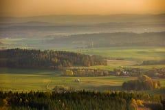 Vista aerea alla campagna ceca immagine stock