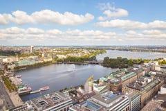 Vista aerea alla città di Amburgo immagini stock libere da diritti