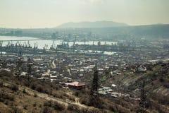 Vista aerea alla città industriale Novorossijsk Fotografia Stock