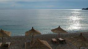Vista aerea alla spiaggia di Potami in città di Himara in Albania stock footage