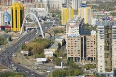 Vista aerea alle costruzioni della città di Astana a Astana, il Kazakistan immagine stock libera da diritti