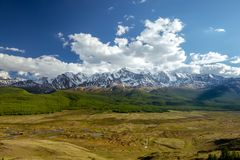 Vista aerea alle montagne di Altai dei ghiacciai Siberia Russia Immagine Stock Libera da Diritti