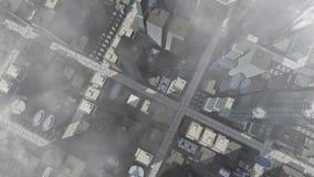 Vista aerea animata della città archivi video