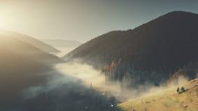 Vista aerea a catena epica del paesaggio del pendio della foresta della collina fotografie stock libere da diritti