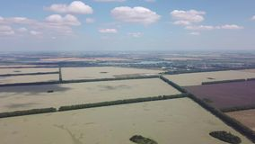 Vista aerea che gira 360 gradi sopra la strada in mezzo a tantissimi campi variopinti coltivare con le piante per agricul archivi video
