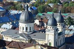 Vista aerea, città Leopoli, Ucraina Immagini Stock Libere da Diritti