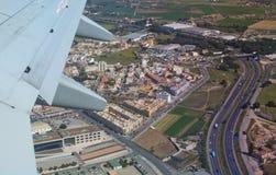 Vista aerea con la rete stradale Fotografia Stock Libera da Diritti