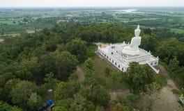 Vista aerea dal fuco Grande statua di Buddha sulla montagna Immagine Stock Libera da Diritti