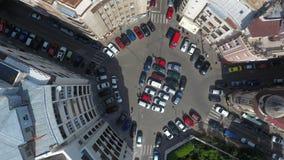 Vista aerea dal fuco sopra una rotonda fotografia stock