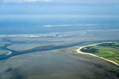 Vista aerea dal parco nazionale del mare dello Schlesvig-Holstein Wadden Fotografia Stock