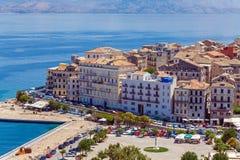 Vista aerea dalla nuova fortezza Kerkyra, isola di Corfù, Grecia Immagine Stock