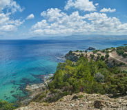 Vista aerea degli alberi e del mare Fotografia Stock Libera da Diritti