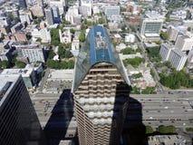 Vista aerea degli edifici del centro di Seattle, luce della città di Seattle Immagine Stock Libera da Diritti