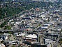 Vista aerea degli edifici di Seattle, del lago union e di I-5 del centro ciao Fotografie Stock Libere da Diritti