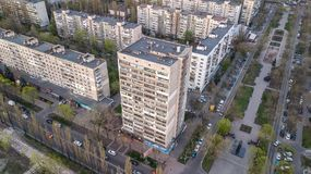 Vista aerea degli edifici residenziali a Kiev, Ucraina fotografie stock