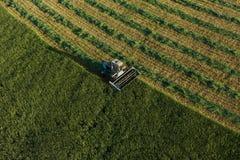Vista aerea dei campi del raccolto con l'associazione Fotografie Stock