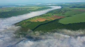 Vista aerea dei campi su una collina sopra le nuvole, vista aerea di nebbia sopra il fiume ad alba, nebbia spessa sopra il fiume archivi video