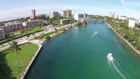 Vista aerea dei canali navigabili di Florida video d archivio