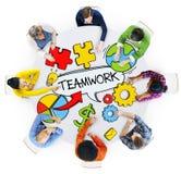 Vista aerea dei concetti di lavoro di squadra e della gente Immagini Stock Libere da Diritti