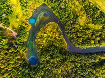 Vista aerea dei laghi di morfologia carsica fotografie stock