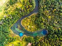Vista aerea dei laghi di morfologia carsica Fotografia Stock Libera da Diritti