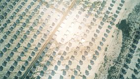 Vista aerea dei pannelli solari che riflettono sole stock footage