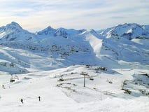 Vista aerea dei pendii della stazione sciistica di Les2Alpes, Francia Immagini Stock Libere da Diritti