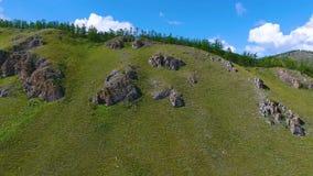 Vista aerea dei prati verdi, delle colline nella distanza e del cielo nuvoloso nella Repubblica di Khakassia La Russia video d archivio