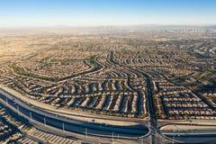 Vista aerea dei progetti abitativi vicino a Las Vegas fotografie stock libere da diritti