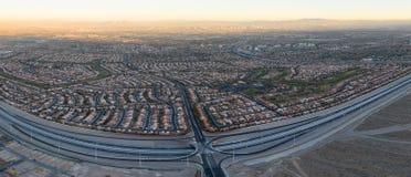 Vista aerea dei progetti abitativi vicino a Las Vegas, NV fotografia stock