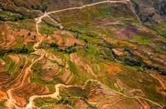 Vista aerea dei terrazzi variopinti del campo e della strada Immagini Stock