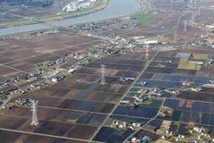 Vista aerea dei terreni agricoli nel Giappone Fotografia Stock
