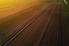 Vista aerea del campo coltivato nel tramonto Fotografie Stock