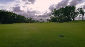 Vista aerea del campo da golf tropicale al tramonto, Repubblica dominicana stock footage