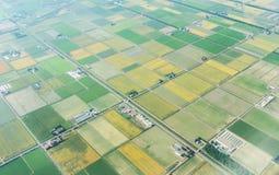 Vista aerea del campo di agricoltura di estate a chitose Hokkaido Giappone Immagini Stock Libere da Diritti