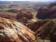 Vista aerea del canyon della neve immagini stock