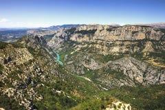 Vista aerea del canyon e del fiume di du Verdon delle gole Alpi, Provenza, F Immagine Stock Libera da Diritti