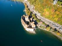 Vista aerea del castello di Chillon - Chateau de Chillon a Montreux, Svizzera Fotografie Stock Libere da Diritti